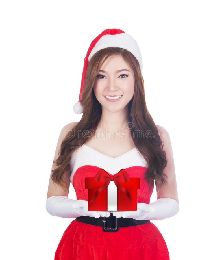 De giften van de holdingskerstmis van de Kerstmisvrouw het glimlachen stock afbeeldingen