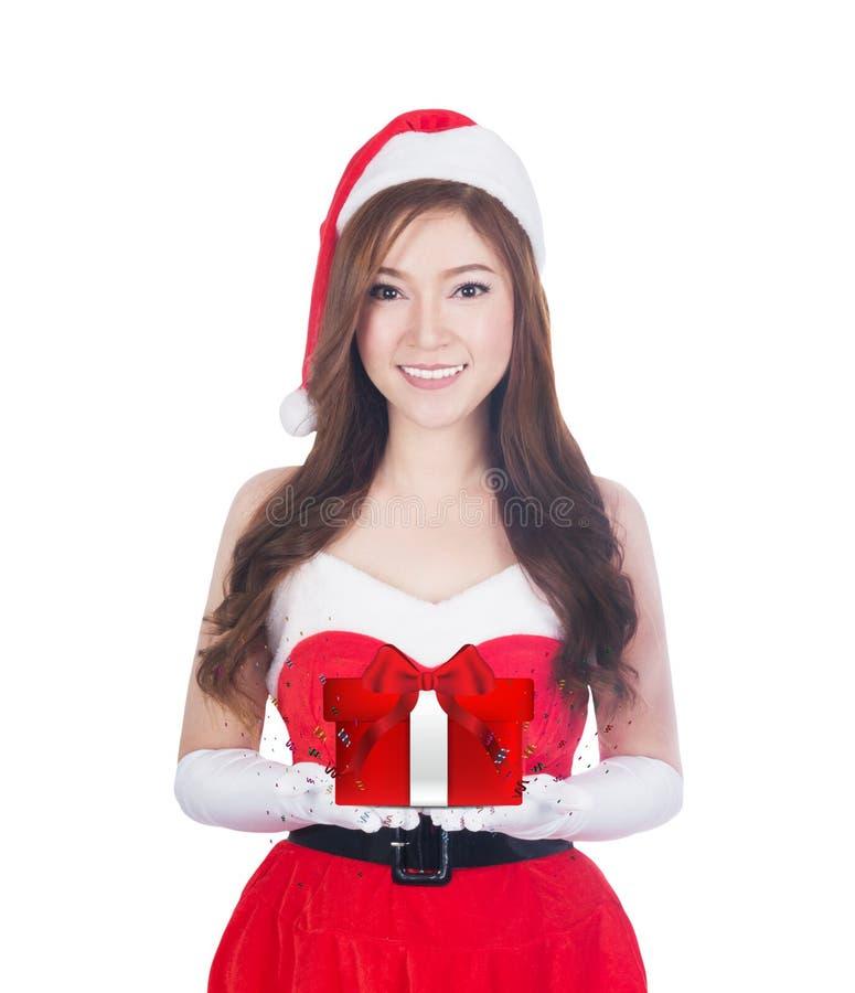 De giften van de holdingskerstmis van de Kerstmisvrouw het glimlachen stock foto's