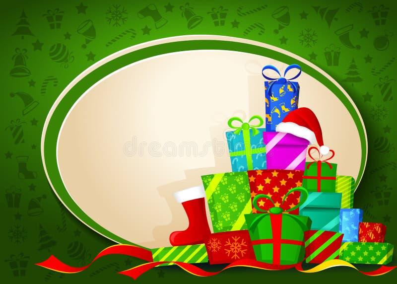 De giften van Kerstmis. Vector illustratie royalty-vrije illustratie