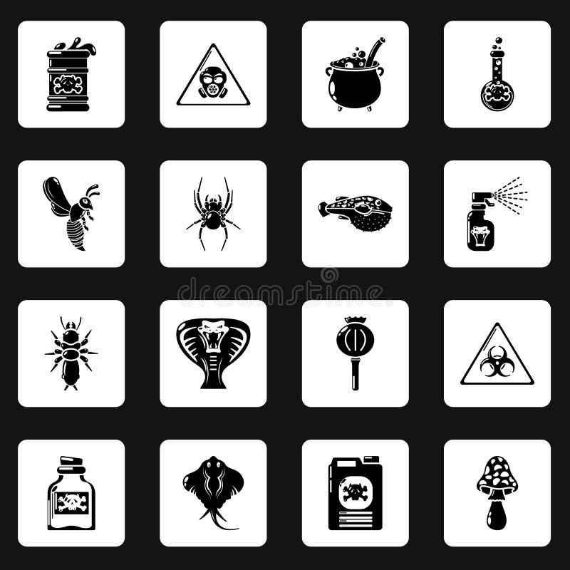 Download De Giftige Geplaatste Pictogrammen Van Het Vergiftgevaar, Eenvoudige Stijl Vector Illustratie - Illustratie bestaande uit glas, geneeskunde: 114226771