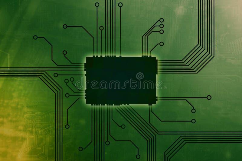 De giftige Groene Gekleurde kern van de digitale computerspaander vector illustratie