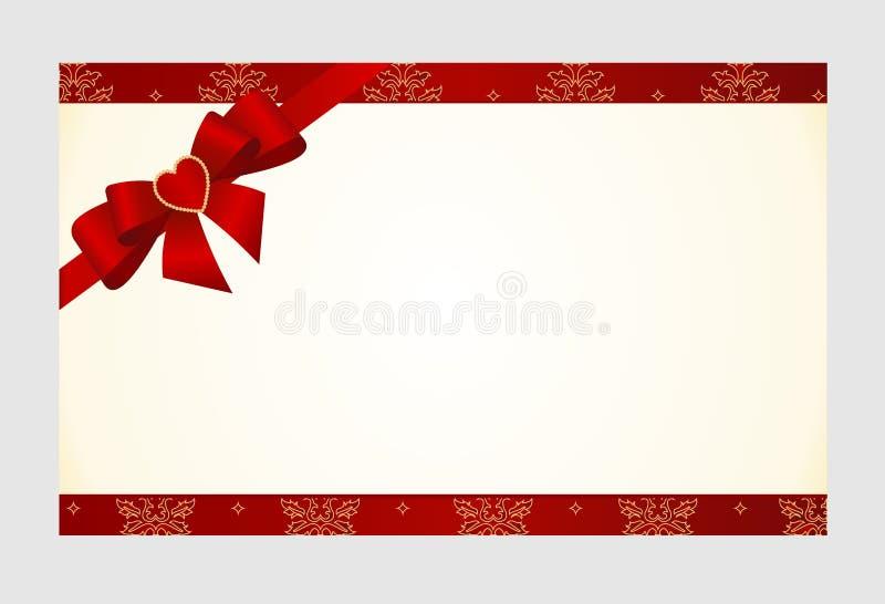 De giftkaart met de Rode Boog van de Satijngift, heeft ruimte voor tekst op achtergrond stock illustratie