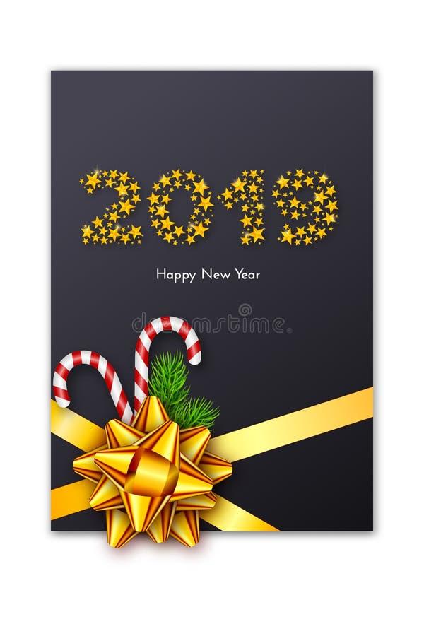 De de giftkaart van het vakantienieuwjaar 2019 met rode boog, spar vertakt zich en suikergoedriet Malplaatje voor een banner, aff vector illustratie