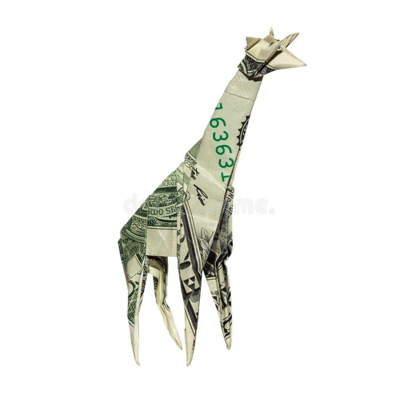 De GIRAF van de geldorigami met Echte Dollarrekening wordt gevouwen die royalty-vrije stock foto