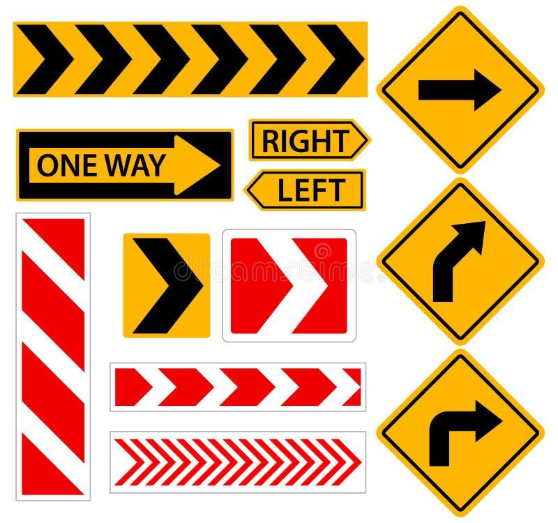 De giro a la derecha Señal de tráfico con la flecha Conjunto de ilustraciones del vector ilustración del vector