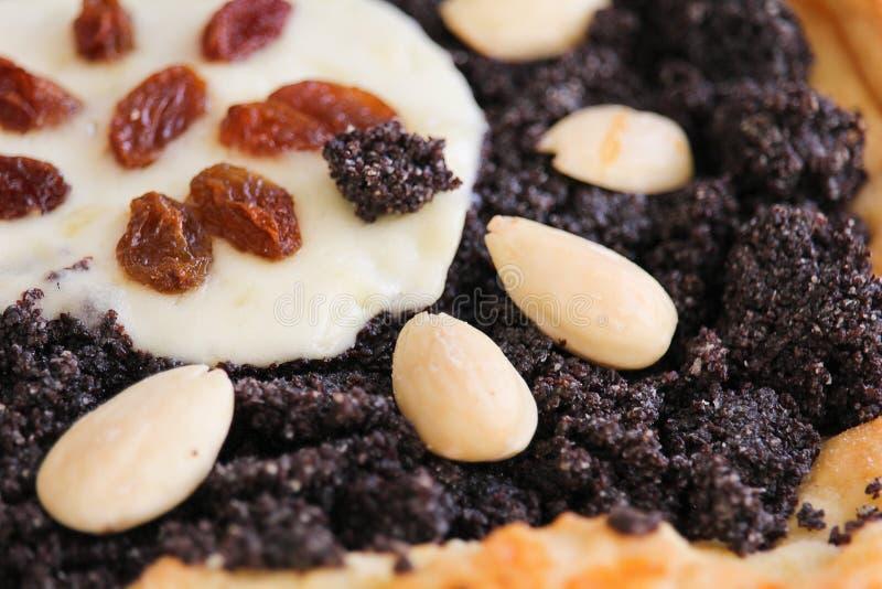 De gistcake met amandel, rozijn, papaver en kaas, sluit omhoog foto stock fotografie