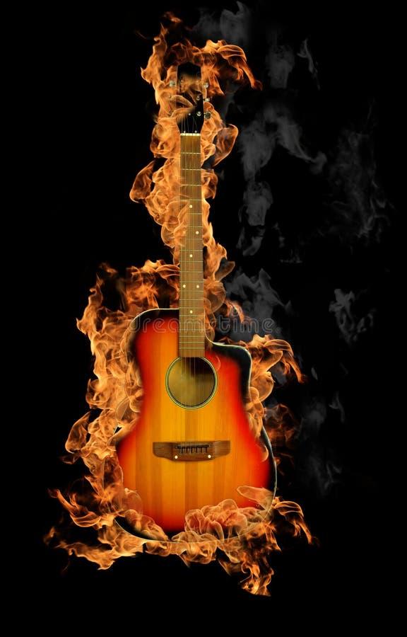 De gitaar van de brand stock foto's