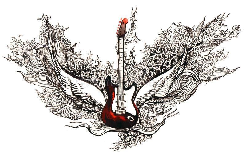 De gitaar van de rots stock illustratie