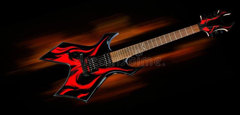 De gitaar van de zwaar metaalbrand stock foto