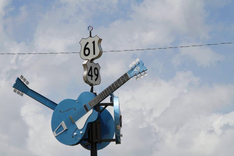 De gitaren tonen de verbinding van Blauwweg stock afbeelding
