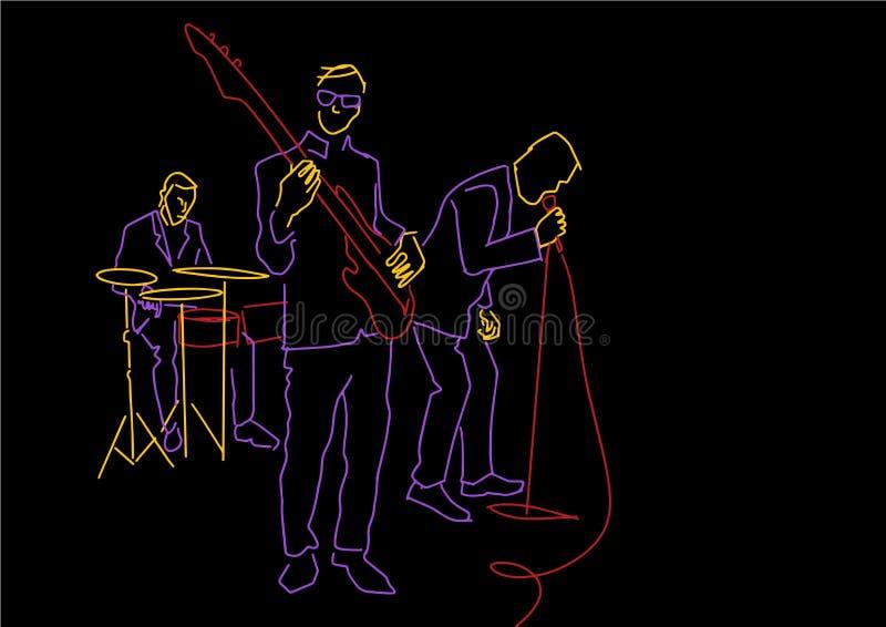 De gitarist, de slagwerker en de zanger presteren op stadium stock illustratie