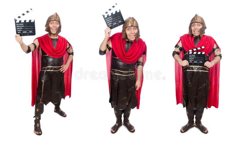 De gladiator met dakspaan op wit wordt geïsoleerd dat royalty-vrije stock afbeeldingen