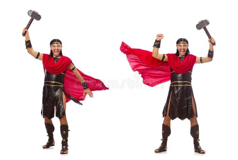 De gladiator met hamer op wit wordt geïsoleerd dat royalty-vrije stock foto's