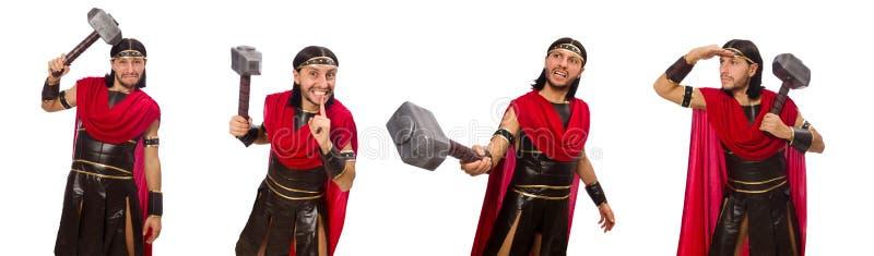 De gladiator met hamer op wit wordt geïsoleerd dat stock afbeelding