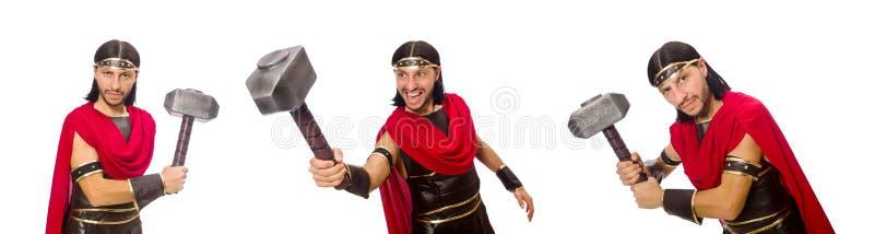 De gladiator met hamer op wit wordt geïsoleerd dat royalty-vrije stock fotografie