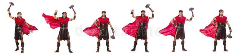 De gladiator met hamer op wit wordt geïsoleerd dat stock fotografie