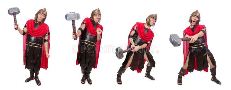 De gladiator met hamer op wit wordt geïsoleerd dat royalty-vrije stock afbeeldingen