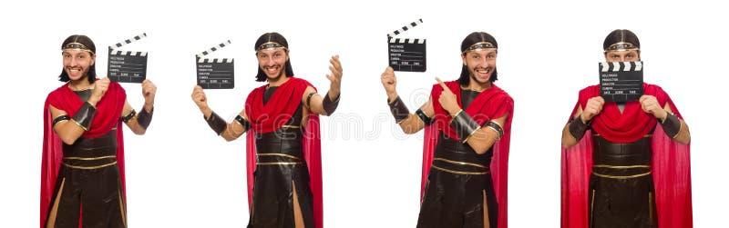 De gladiator met klep-raad op wit wordt geïsoleerd dat royalty-vrije stock afbeeldingen