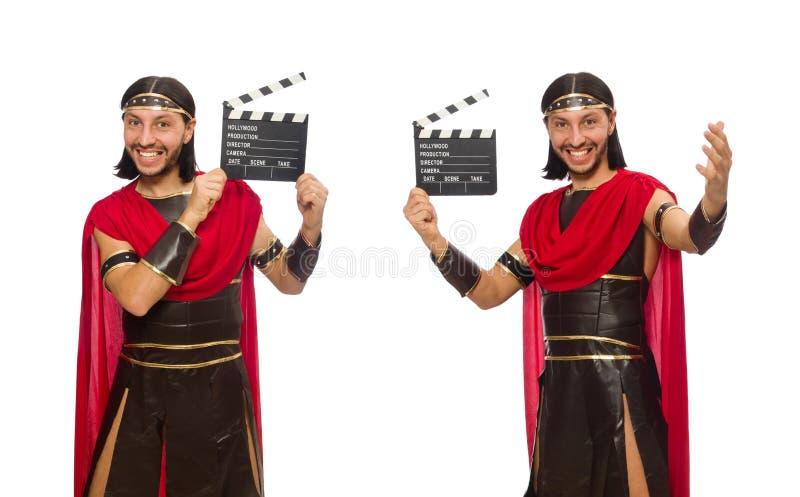 De gladiator met klep-raad op wit wordt geïsoleerd dat stock fotografie