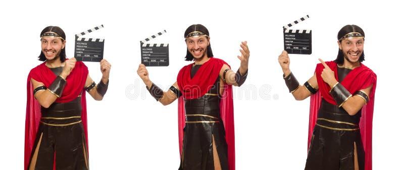 De gladiator met klep-raad op wit wordt geïsoleerd dat stock foto's