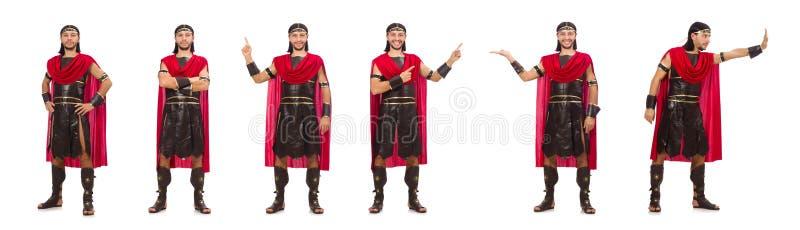 De gladiator op wit wordt geïsoleerd dat stock afbeeldingen