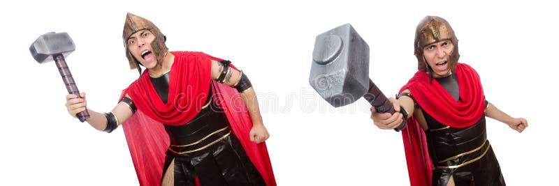 De gladiator op wit wordt geïsoleerd dat royalty-vrije stock foto's