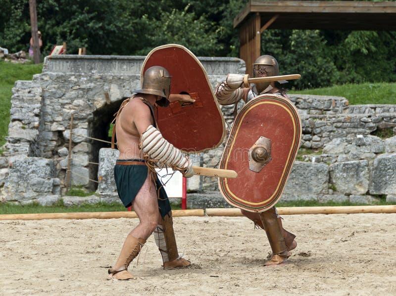 De gladiatoren vechten in Carnuntum #4 stock fotografie