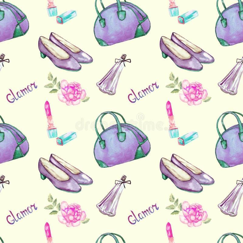 De glamourtoebehoren, blauwgroene kegelentype zak, lippenstift, parfum, de violette purpere roze schoenen van het leerhof, namen  vector illustratie