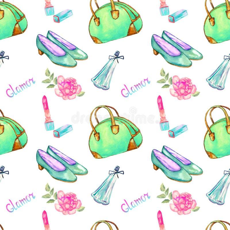 De glamourtoebehoren, groene kegelentype zak, lippenstift, parfum, de turkooise roze schoenen van het leerhof, namen, naadloos pa royalty-vrije illustratie