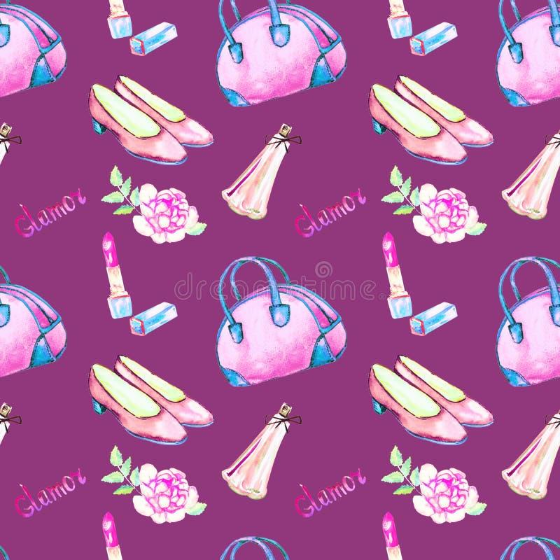 De glamourtoebehoren, roze kegelentype zak, lippenstift, parfum, de roze schoenen van het leerhof, namen op purpere achtergrond t vector illustratie