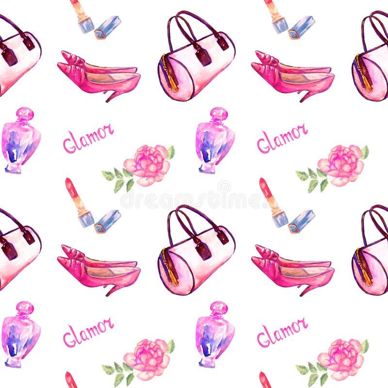 De glamourtoebehoren, roze vattype zak, lippenstift, parfum, roze de hielschoenen van het leerkatje, namen op witte achtergrond t royalty-vrije illustratie