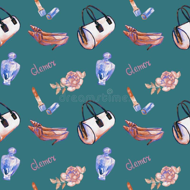 De glamourtoebehoren, roze vattype zak, lippenstift, parfum, de hielschoenen van het leerkatje, namen, patroon, donkere turkooise royalty-vrije illustratie