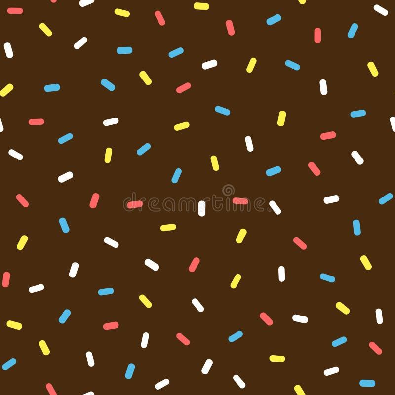 De glans van de chocoladedoughnut met bestrooit Kleurrijk naadloos patroon stock illustratie