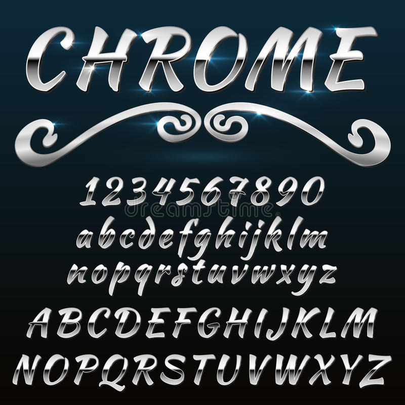 De glanzend retro, uitstekend doopvont van Chrome, lettersoort, mado van metaal of staal royalty-vrije illustratie