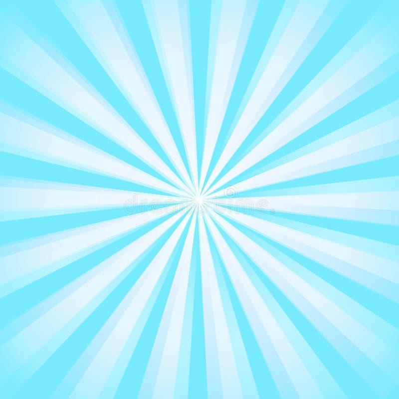 De glanzende achtergrond van de zonstraal Het Patroon van de zonzonnestraal de blauwe achtergrond van de stralenzomer zonnestrale vector illustratie