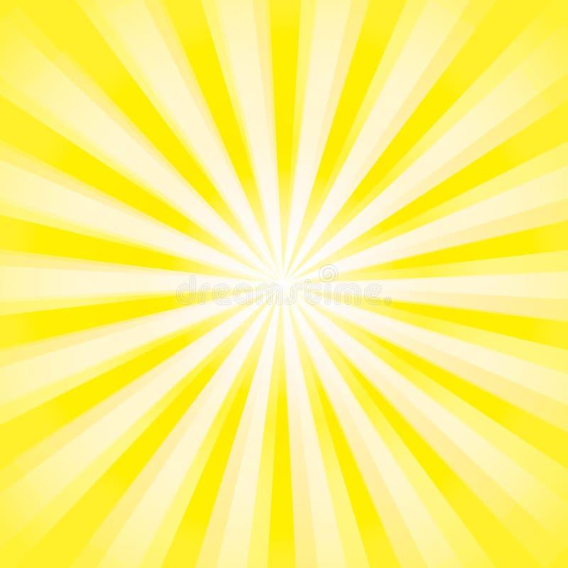 De glanzende achtergrond van de zonstraal Het Patroon van de zonzonnestraal de gele achtergrond van de stralenzomer zonnestralena vector illustratie