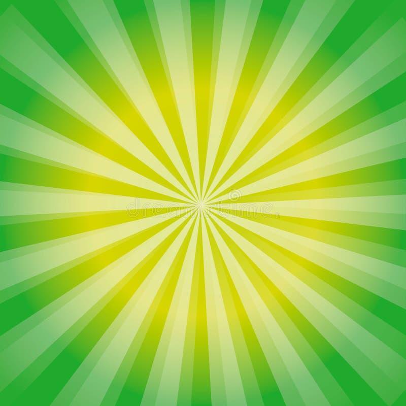 De glanzende achtergrond van de zonstraal Het Patroon van de zonzonnestraal de groene achtergrond van de stralenzomer zonnestrale royalty-vrije illustratie