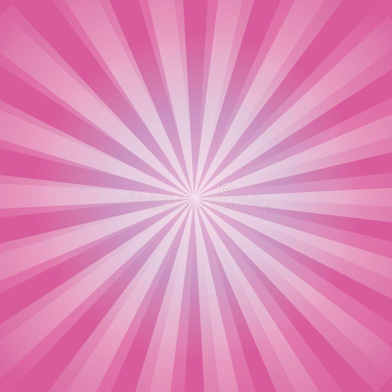 De glanzende achtergrond van de zonstraal Het Patroon van de zonzonnestraal de roze achtergrond van de stralenzomer zonnestralena royalty-vrije illustratie