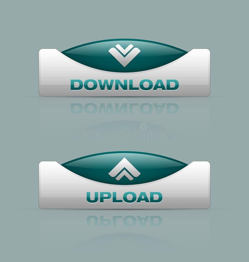 De download en uploadt knopen vector illustratie