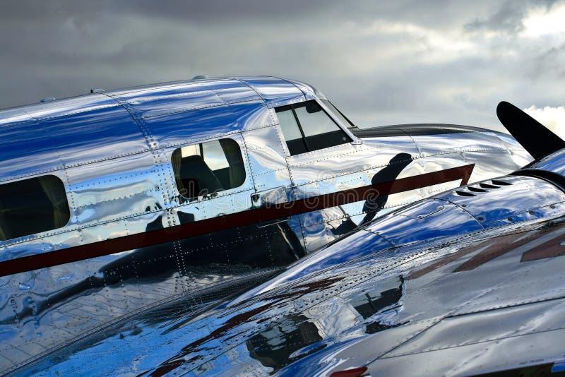 De Glanzende Fuselage van Jr. van Lockheed Electra royalty-vrije stock afbeeldingen