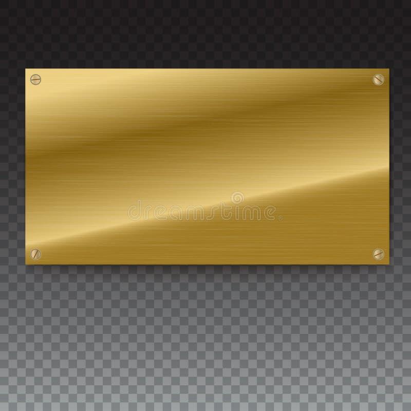 De glanzende geborstelde banners van de metaal gouden, gele plaat op witte achtergrond vector illustratie