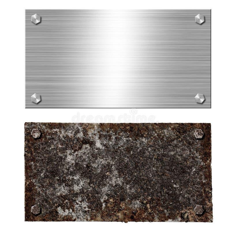De glanzende geborstelde schroef van het het staaluithangbord van het metaalaluminium De roestige bouten van de staalplaat Textuu royalty-vrije illustratie