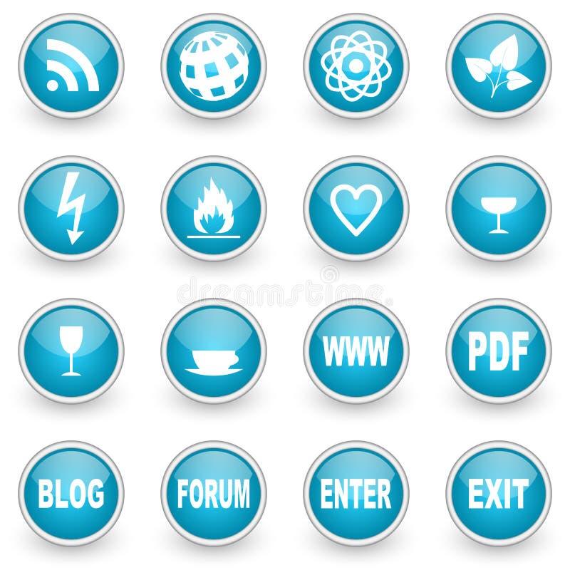 De glanzende geplaatste pictogrammen van het cirkelweb vector illustratie