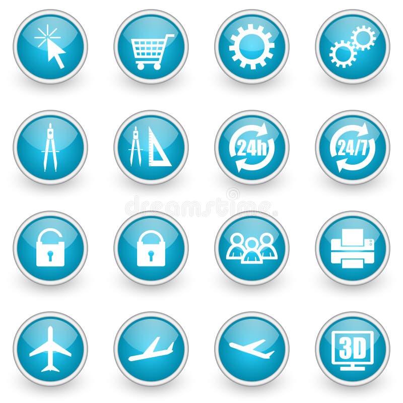 De glanzende geplaatste pictogrammen van het cirkelweb stock illustratie