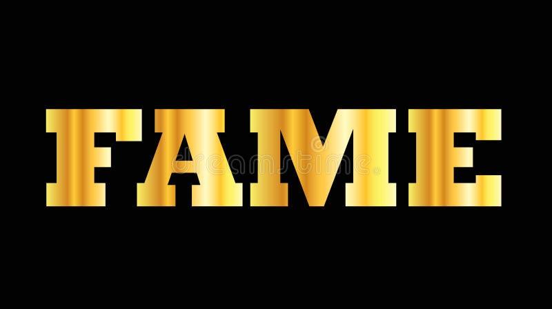 De glanzende gouden bekendheid van het hoofdletterwoord stock illustratie