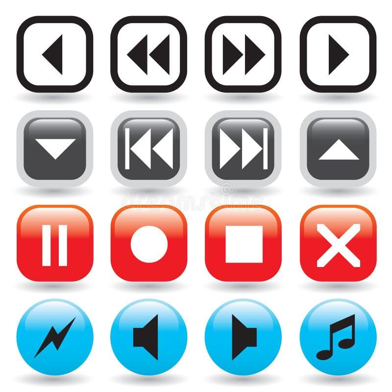 De glanzende Knopen van Media Player royalty-vrije illustratie