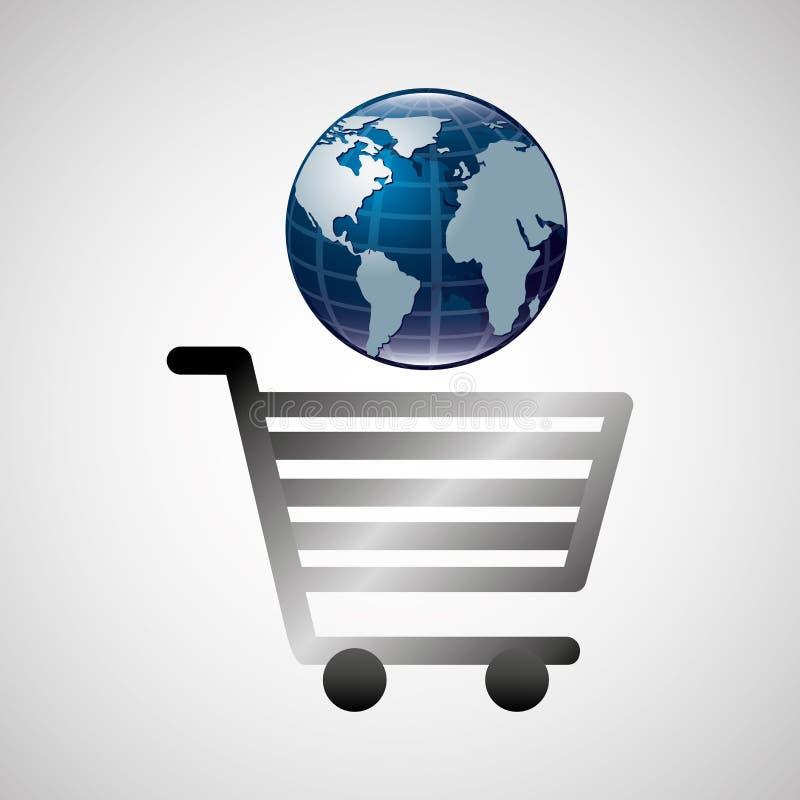 De glanzende online handel van de boodschappenwagentjebol stock illustratie