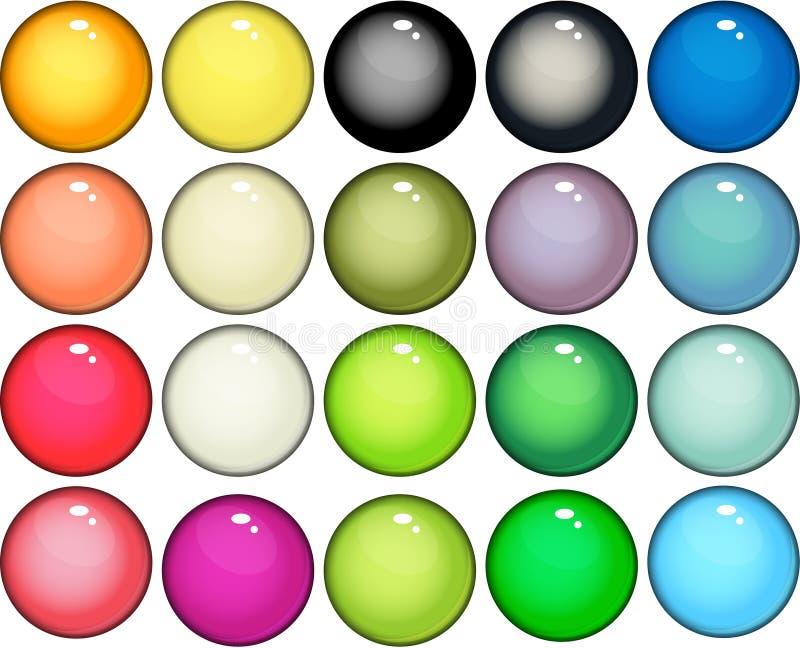 De glanzende pictogrammen van Webknopen stock illustratie