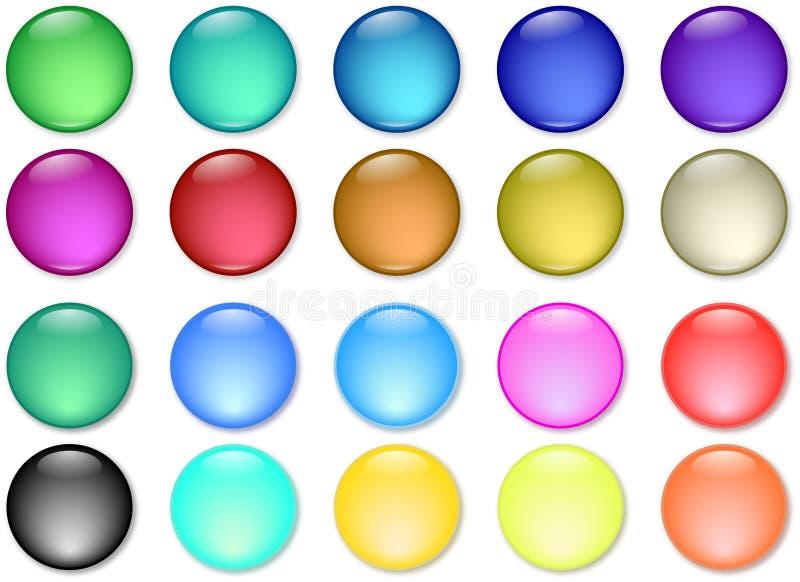 De glanzende pictogrammen van Webknopen vector illustratie