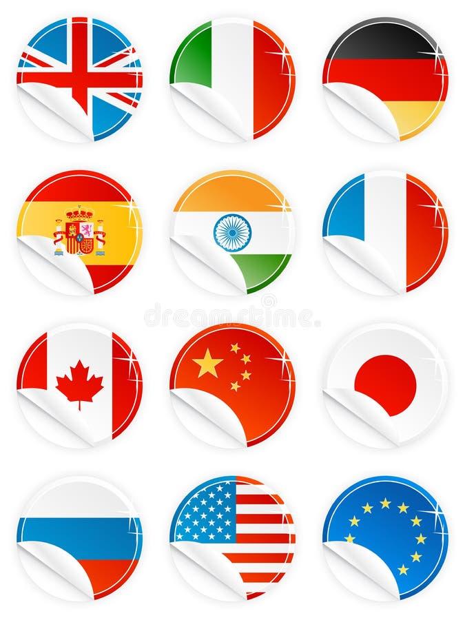 De glanzende reeks van de de sticker nationale vlag van het knooppictogram royalty-vrije illustratie